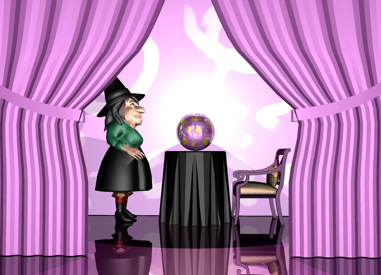 Input text: it is night. the ground is purple and shiny. a black table. the 7 feet tall witch is in front of the table. she is facing to the table.  the 1.6 feet tall [smthng9] bowling ball is on the table. the bowling ball is shiny. the purple chair is behind the table. it is facing to the table. the 8 feet tall and 13 feet wide violet curtain is 5 feet to the right of the table. it is facing to the table. the pole of the curtain is [wood]. the 10 feet tall [smthng10] wall is to the left of the table. it is facing to the table. the small pink light is on the bowling ball.