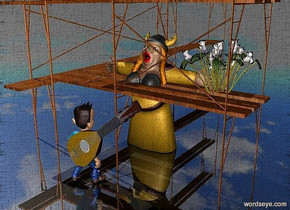a 100 inch tall and 200 inch deep and 100 inch wide wood scaffolding.ground is shiny black .a 50 inch tall woman is -100 inch above the scaffolding.the woman is -50 inch in front of the scaffolding.a 20 inch tall flower is -10 inch right of the woman.the flower is -20 inch above the woman.a 30 inch tall man is 25 inch in front of the woman.the man is facing the woman.a 35 inch tall mandolin is in front of the man.the mandolin leans 50 degrees to west.the mandolin is -20 inch above the man.the mandolin is -40 inch left of the man.the sound hole of the mandolin is white.the string of the mandolin is silver.