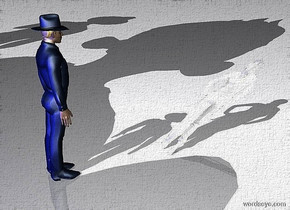 ground is white.sky is white.a 1st 130 inch tall 20% dim delft blue man.a blue light is 500 inch behind  the 1st man.azimuth of the sun is -20 degrees.a 2nd 1000 inch tall man is 100 inch behind the 1st man.a 3rd 700 inch tall man is 100 inch right of the 2nd man.a  140 inch tall  white flat woman is 80 inch in front of the 1st man.the  woman leans 60 degrees to the front.