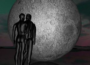 a 100 inch tall  moon.the moon is facing north.a 50 inch tall black woman is in front of the moon.the woman is facing north.a 50 inch tall black man is -10 inch left of the woman.the man is facing north.ground is shiny black.camera light is gainsboro.sun is black.