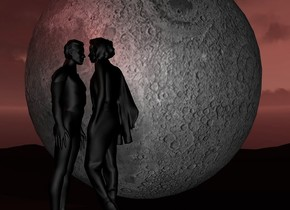 a 100 inch tall  moon.the moon is facing south.a 50 inch tall black woman is in front of the moon.the woman is facing west.a 50 inch tall black man is 1 inch left of the woman.the man is facing east.ground is shiny 20% dim maroon.camera light is 70% dim gainsboro.sun is 5% dim maroon.a maroon  light is -4 inch above the man.