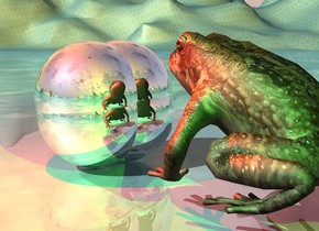 the silver sphere is -8  inches to the left of the silver sphere. another silver sphere is -10 inches above the silver sphere. a 4th silver sphere is -8 inches right of the sphere.  the large frog is 4 inches in front of the sphere. it is facing back. the ground is water. the red light is above and to the left of the sphere. the green light is 2 feet in front of the red light. the camera light is black.
