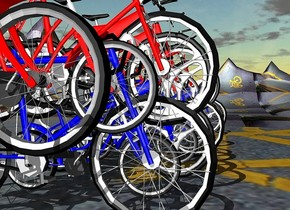 ten 100 inch tall  blue bicycles.nine 100 inch tall red bicycles are -50 inch above the blue bicycles.ground is 390 inch wide  [street].ground is 100 feet tall.