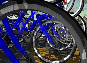 ten 100 inch tall   blue bicycles.nine 100 inch tall red bicycles are -50 inch above the blue bicycles.ground is 390 inch wide  [street].ground is 100 feet tall.camera light is gray.