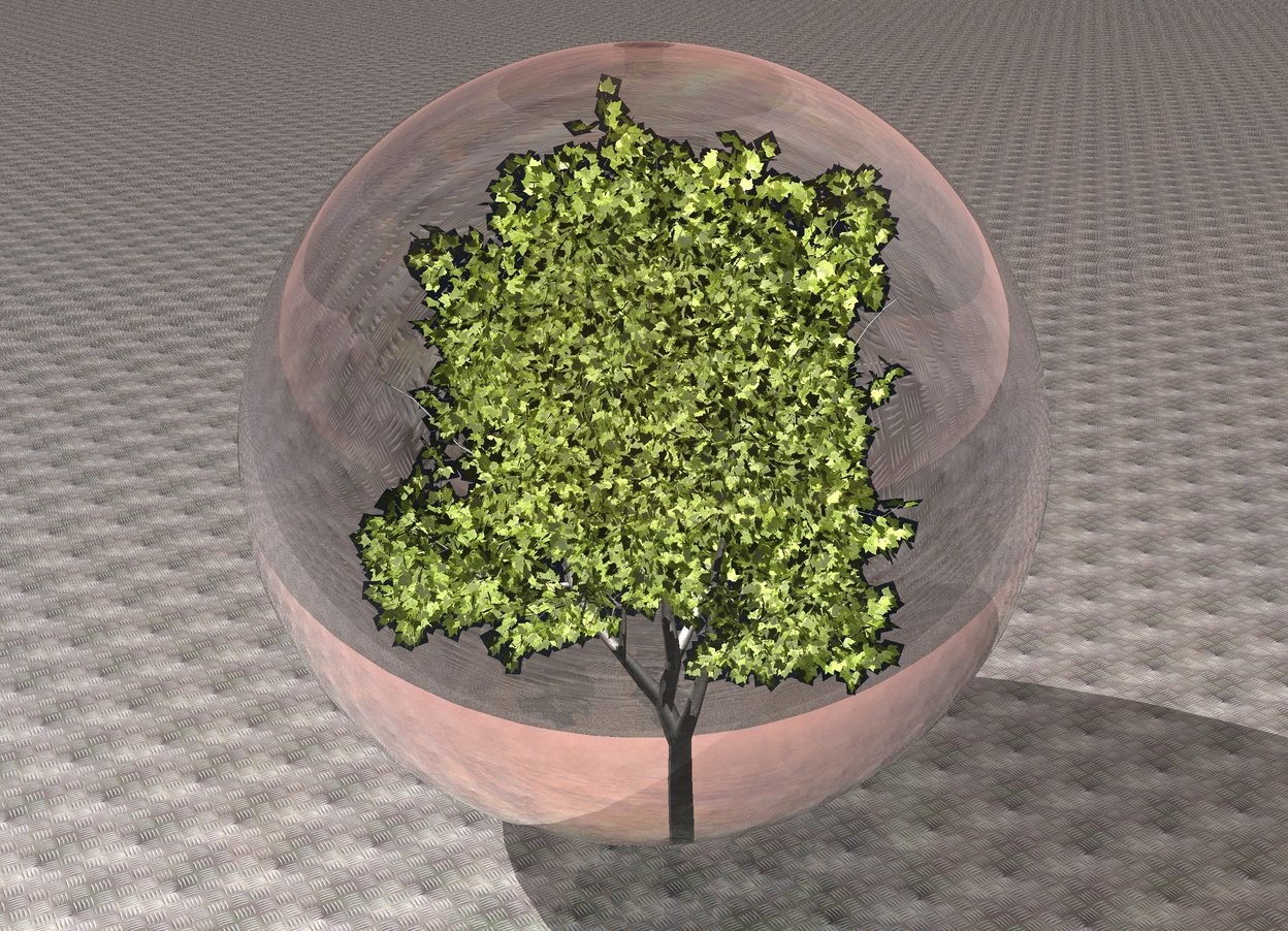 Input text: the 5 feet tall transparent sphere. the ground is texture. the 3.5 feet tall tree is -4.5 feet above the sphere. the light is on the tree