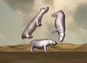 A second hippo is -1 foot in front and -1 foot above the first hippo. it is leaning 90 degrees to the front. the third hippo is -1 foot above and -7 feet behind the first hippo. it is leaning 45 degrees to the back. the third hippo is 12 feet long and 3 feet tall.