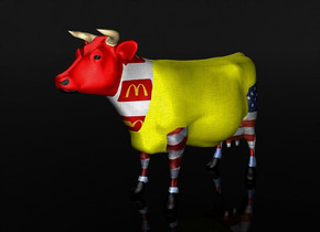 a 100 inch tall yellow cow.the head of the cow is red.the thigh of the cow is red [flag].the calf muscle of the cow is [flag].the udder of the cow is [flag].the neck of the cow is 9.7 inch wide [hm].sky is black.ground is clear.