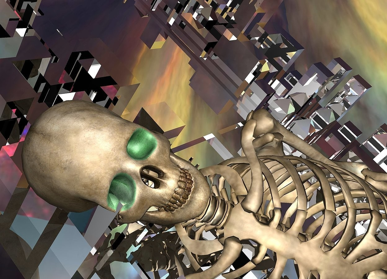 Input text: a silver city block.the city block is leaning 85 degrees to the southwest.a 700 feet tall skeleton is -700 feet above the city block..it is leaning 85 degrees to the southeast.the sky is picture.a gold light is 2 feet above the skeleton.the skeleton's eye is malachite green.the skeleton's nose is dirt.the dirt is 3 feet tall.the skeleton's tooth is dirt.