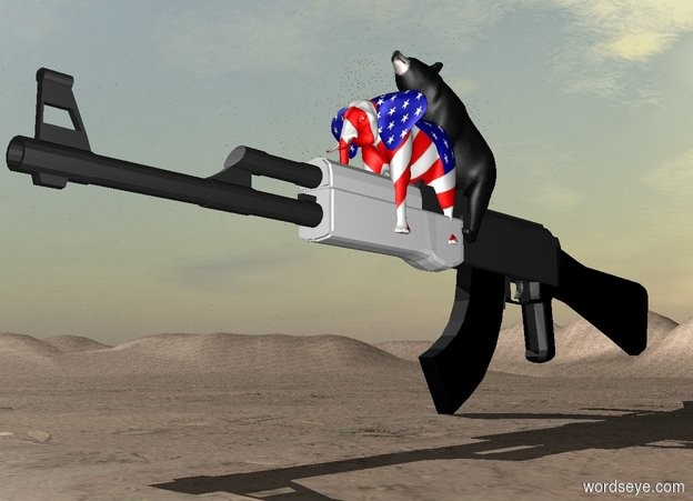 Input text: The bear is in the enormous gun. It is leaning 40 degrees to the back. The small [flag] elephant is -4 feet in front of the bear. The ground is dirt. It is tall.