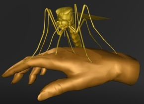a 120 inch tall gold mosquito is -100 inch above a 270 inch tall tan hand.the hand leans 80 degrees to right.the hand is upside down.the hand is [le2].the mosquito leans 20 degrees to the front.sky is black.ground is clear.