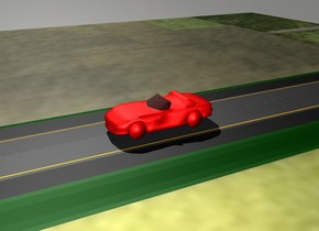 the car is red. there is a 1000 meters long street. the car is on the street. there is grass