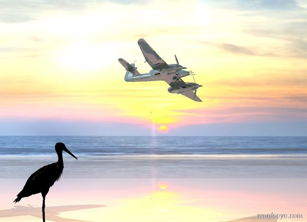 Input text: a shiny  [sky] backdrop. camera light is black.  shiny ground. a peach light is on the shiny small airplane. a very large black  bird  is  left of the airplane.  it is facing right. the airplane is facing southeast. it is leaning left. the airplane is 4 feet above the bird.