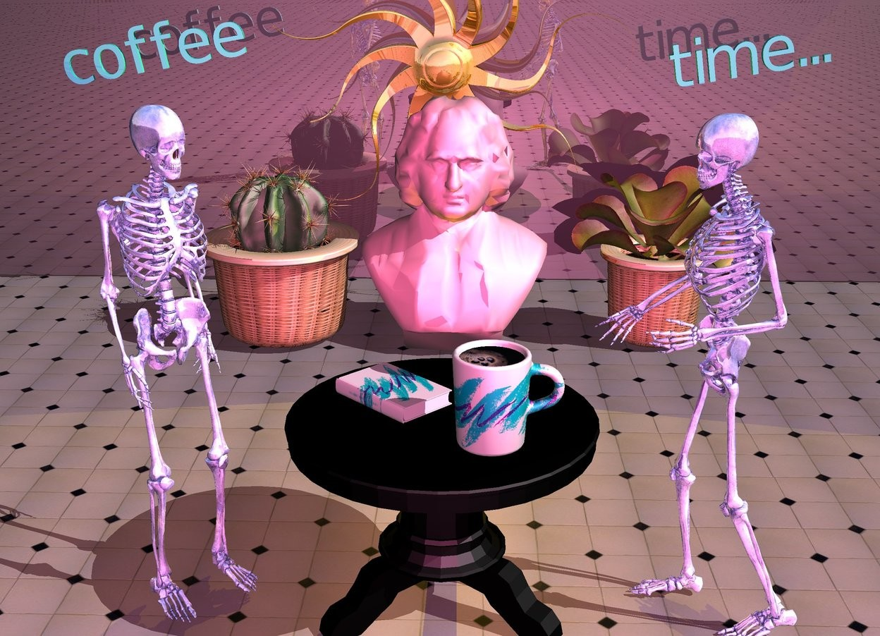 """Input text: Sun's azimuth is 20 degrees. The ground is floor.  The camera light is hot pink. The mug is on the table. The mug is large. The mug is [image-11966]. The table is black. A shiny blue skeleton is behind the table. The skeleton is 5 feet tall.  A shiny blue skeleton is in front of the table. The skeleton is 5 feet tall. The skeleton is facing northeast. A book is on the table. The book is in front of the mug. The book is facing down. The book is facing northeast. The book is  [image-11966]. A [image-11969] circle is -1 inch above the mug. The circle is -8.5 inches in front of the mug. The circle is 8 inches wide. A large pink bust is 5 feet west of the table. The bust is facing east. A kalanchoe is north of the bust. The kalanchoe is 3 feet tall. A large plant is  south of the bust.  A black shiny wall is 2 feet west of the bust. The wall is facing east. A 6 foot tall gold sun symbol is 1 foot east of the wall and 1.2 feet above the ground.  The sun symbol is facing east. A gold light is 5 inches east of the sun symbol. the small turquoise """"coffee"""" is 0.5 feet south of the sun symbol. the """"coffee"""" is facing east. the """"coffee"""" is 4 feet above the ground. the """"coffee"""" is leaning 10 degrees to the east. the small turquoise """"time..."""" is 0.5 feet north of the sun symbol. the """"time..."""" is facing east. the """"time..."""" is 4 feet above the ground.  the """"time..."""" is leaning 10 degrees to the east."""