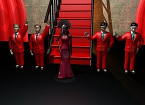 1st 6 feet wide stair. the stair step of the stair is red. 2nd 6 feet wide stair is -5.8 feet right of the 1st stair. it faces back. it leans 90 degrees to the back.the fat stair step of the stair is red. a 6 feet tall crimson woman is 3 feet in front of the stair. a small red shiny turkey is -1.3 feet above the woman. it faces back. it leans 30 degrees to the front. 1st tan man is 1 feet right of and 1 feet behind the woman. the suit of the man is red. 2nd  beige man is -.2 feet right of the 1st man. the fat suit of the 2nd man is red. 3rd 6.3 feet tall man is 1 feet left of and 1 feet behind the woman. the ugly suit of the 3rd man is red. the 4th   6.3 feet tall man is -.2 feet left of the 3rd man. the cute suit of the 4th man is red. a 25 feet tall and 50 feet wide red curtain is -8 feet behind the stair. a 25 feet tall 35 feet wide wood door is behind the stair. the ground is unreflective black. the camera light is black. a giant funnel is 9 feet above and 1 feet in front of the woman.it leans to the front. 3 powder blue lights are -1.3 feet above the funnel. the sun is ink blue. a 4 feet wide plate is -1.2 feet above the funnel. it leans to the front. 3 saddle brown lights are -16 feet above and -5 feet behind the stair. a small dim crimson light is -1 feet above and .5 feet in front of the woman.the sun's azimuth is 10 degrees.