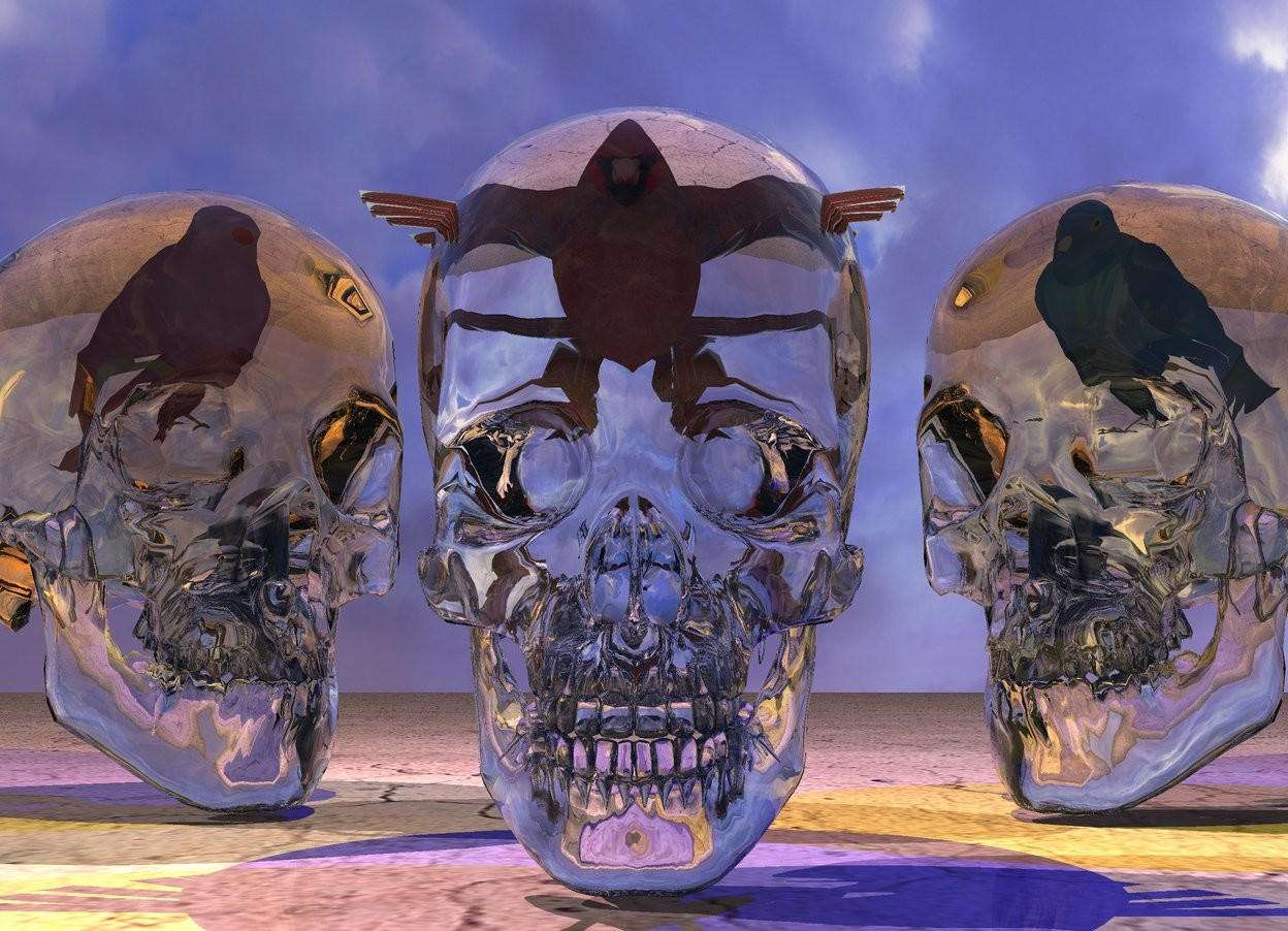 Input text: the transparent skull. the ground is texture. the 3 inches tall bird is -4 inches above the skull. the 1st transparent bone is behind and to the right of the skull. it is facing to the skull. the 2nd transparent bone is behind and to the left of the skull.  it is facing to the skull. the 2nd 3.5 inches tall bird is -5 inches above the 1st bone.  it is facing to the skull. the 3rd 3.5 inches tall bird is -5 inches above the 2nd bone.  it is facing to the skull. the 1st bird is texture. the 2nd bird is texture. the 3rd bird is texture. the yellow light is on the skull. the pink light is on the 2nd bone. the blue light is on the 1st bone