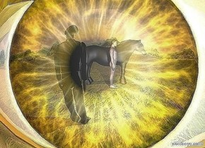 a 10 foot tall shiny gold eye. a large black horse is 12 feet in front of the eye. it faces right. a man is behind the horse. he faces right. ground is grass. background is forest. a soldier is 2 feet in front of the eye. he is .4 foot left of the man. sun is old gold.