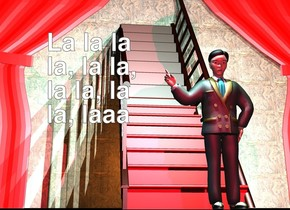 1st 6 feet wide stair. the stair step of the stair is red. 2nd 6 feet wide stair is -5.8 feet right of the 1st stair. it faces back. it leans 90 degrees to the back. a 6 feet tall tan man is 3 feet in front of the stair. a 25 feet tall and 50 feet wide red curtain is -8 feet behind the stair. a 25 feet tall 35 feet wide wood door is behind the stair. the ground is unreflective black. the camera light is black. 3 powder blue lights are 1.3 feet above and in front of the man. the sun is ink blue. 3 saddle brown lights are -16 feet above and -5 feet behind the stair. a crimson light is -3 feet above and 3 feet in front of the man.