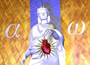A white woman. The maroon heart is 2 inch in front of the woman and 2.5 feet above the ground. The heart is -1.8 feet to the left. The heart is leaning 20 degrees to the front. The tiny sun symbol is 1 inch behind the heart and -7.4 inches to the left. The sun symbol is 2.4 feet above the ground. The second sun symbol is 1 inch behind the woman's head and 5.3 feet above the ground. The second sun symbol is 5 feet tall. The second sun symbol is -3.1 feet to the left. The small [metal] alpha is 0.2 foot left of the woman and 4  feet above the ground. The alpha is leaning 20 degrees to the front. The small [metal] omega is 0.2 foot right of the woman and 4 feet above the ground. The omega is leaning 20 degrees to the front. The 3 foot wide first wall is 1 foot behind the woman and -2.35 feet to the left. The wall is 10 feet tall. The wall is leaning 15 degrees to the front. The wall is [blue2]. The 50 foot wide  second wall is 1 inch behind the first wall.  The second wall is 50 feet tall. The second wall is 16 foot tall [gold1].  A light blue light is 4 feet in front of the woman. A tiny dark gold light is 4 feet in front of the woman and 5 feet above the ground.