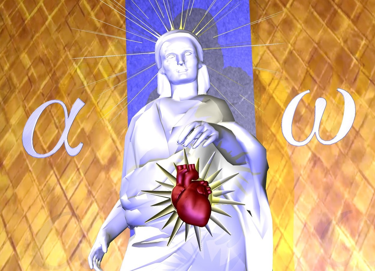 Input text: A white woman. The maroon heart is 2 inch in front of the woman and 2.5 feet above the ground. The heart is -1.8 feet to the left. The heart is leaning 20 degrees to the front. The tiny sun symbol is 1 inch behind the heart and -7.4 inches to the left. The sun symbol is 2.4 feet above the ground. The second sun symbol is 1 inch behind the woman's head and 5.3 feet above the ground. The second sun symbol is 5 feet tall. The second sun symbol is -3.1 feet to the left. The small [metal] alpha is 0.2 foot left of the woman and 4  feet above the ground. The alpha is leaning 20 degrees to the front. The small [metal] omega is 0.2 foot right of the woman and 4 feet above the ground. The omega is leaning 20 degrees to the front. The 3 foot wide first wall is 1 foot behind the woman and -2.35 feet to the left. The wall is 10 feet tall. The wall is leaning 15 degrees to the front. The wall is [blue2]. The 50 foot wide  second wall is 1 inch behind the first wall.  The second wall is 50 feet tall. The second wall is 16 foot tall [gold1].  A light blue light is 4 feet in front of the woman. A tiny dark gold light is 4 feet in front of the woman and 5 feet above the ground.