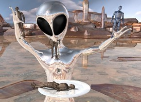 1 100 inch tall 20% dim silver alien. a 20 inch tall shiny 30% dim delft blue first crash dummy is -1 feet to the right and -2 foot above the alien. it is leaning 10 degrees to the left. camera light is gray.ground is shiny. a second 20 inch tall crash dummy is 4.1 feet to the left of the first crash dummy. it is leaning 10 degrees to the right. a third 20 inch tall crash dummy is 2.4 feet to the left of the first crash dummy. it is -3 feet above the alien. it is leaning 10 degrees to the back. the large shiny plate is in front and -3.8 feet above the alien. the 20 inch tall fourth crash dummy is -2.5 inches above the plate. it is facing left. it is leaning 90 degrees to the front.