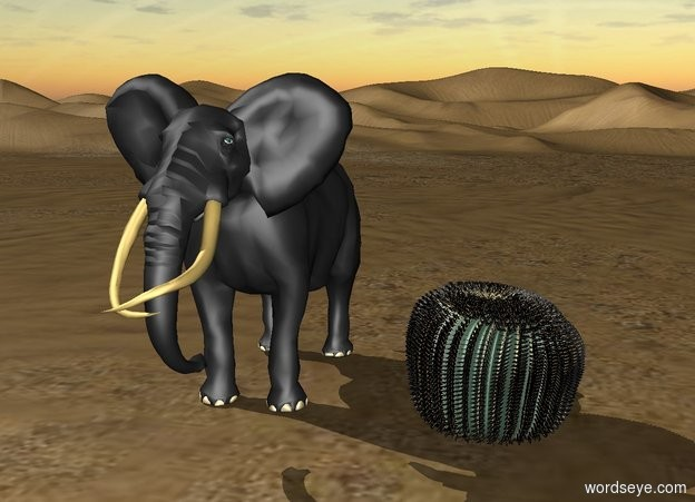 Input text: an elephant is standing one foot away from a large cactus