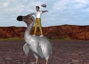 person riding a 10 feet tall dodo