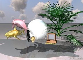 a huge shiny shiny sphere is behind a skull. a pink light is above the sphere. a computer is two feet right of the skull. a palm tree is behind the computer. a pink dolphin is to the left of the sphere. a gold shark is below the dolphin. a huge black hand is near the skull.
