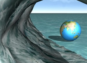 ocean .  big wave. earth . The earth is in  front of the  wave .