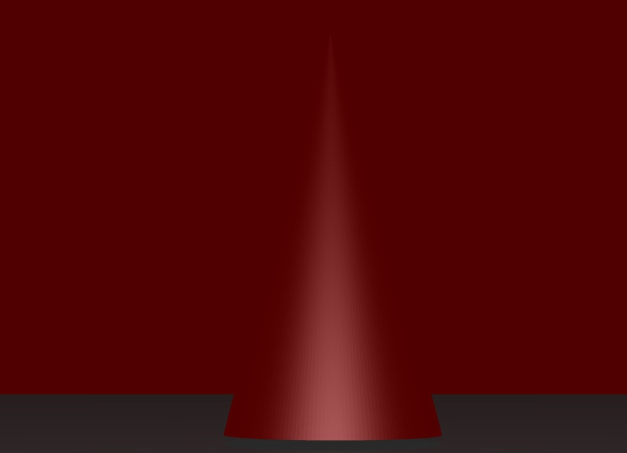 Input text: The sky is red.  The silver cone.  The sun is black.
