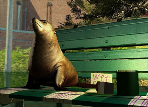 A [bench] bench. The sky is [town]. Camera light is black. A dark tree is behind and -8 feet left of the bench. A tiny seal is -1.38 foot above and -1.5 foot left of the bench. A lemon light is right of the seal. The sun is cream. It is dusk. A small dark green cylinder is 5.5 inch right of and -4 inch in front of and -1.35 feet above the seal. A small silver cylinder is 5.5 inch right of and -4 inch in front of and -1.33 feet above the seal. A brush is -4.2 inch right of and -1.2 feet above the seal. It is leaning 85 degrees to the right. The ground is shiny and dark green. A cream light is right of and above the cylinder.