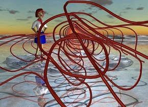 ten 90 inch tall  saffron orange ropes.the ropes are facing east.the ropes lean 50 degrees to south.ground is shiny saffron orange.camera light is gray.a 2500 inch tall  woman is -1200 inch in front of the ropes.the woman is facing northeast.three gray lights are 100 inch behind  the woman.a 30% dim tiny delft blue light is 5 inch above the ropes.