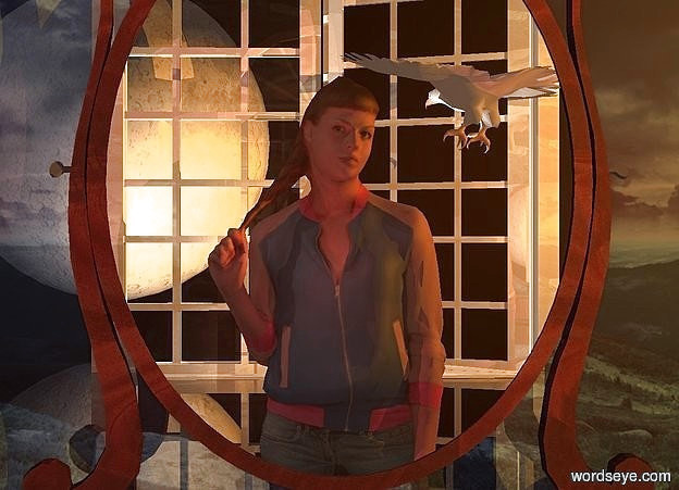Input text: a 10 foot tall [wood] mirror. a 20 foot tall woman is 8 feet in front of the mirror. she faces the mirror. she is 10 feet in the ground.  camera light is sepia mauve.  a very large shiny door is 10 feet in front of  the woman.  it is on the ground. a huge linen light is in front of and -4 feet left of the door. a gold light is 10 feet right of and above the woman.  2 lemon lights are 3 feet in front of and -13 feet left of the door. the lights are 3 feet above the ground. sun is very dim. sky is black. ground is clear. a huge shiny wall is behind the mirror. the wall is 10 foot tall [night]. a 20 foot tall ghost white [night] moon is in front of and -10 feet left of the door. it faces the woman. it is 2 feet above the ground. a large white bird is .5 foot in front of and  -1 foot above and -3.5 feet right of  the woman. it faces the moon.