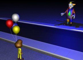 There is a yellow boy 2 feet on the left side of a 500 feet long street.  The boy faces the street. On the right side of the street is a clown. The clown faces the boy. The ground is pavement. above the clown is a big blue light. It is night.