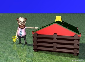 A man. A small girl. A small house. The ground is grass. The sky is blue.