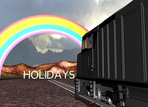 "There are 10 railroad tracks facing right. On the railroad track is a train. 100 feet right of the train is a rainbow facing left. 100 feet right of the train is a huge flying ""HOLIDAYS"" facing left."