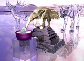 Ambient light is dark honeydew. The ground is clear. An anteater is -6 inch above a ziggurat and -3.2  feet to the back. Anteater is -2.5 feet to the right. Ziggurat is 2 feet tall. ziggurat is shiny black.   1.5 foot tall clear block is 0.8 foot in front of ziggurat and -1.5 foot to right. Large purple bowl is -1 inch above block. 0.9  foot wide circle is 1 inch in bowl. circle is 1 foot wide [texture]. pink light is 1 inch in the circle. Light is facing up. 0.3 foot tall first cactus is 0.8 inch in the circle and -4 inch to left. 0.3 foot tall second cactus is -1 inch in front of first cactus and -6 inch to left. cactus is 1.2 inch in circle. First 0.35 foot tall christmas ornament is 2 inch above circle and -1 inch to right. First christmas ornament is leaning southwest. Second 0.4 foot tall christmas ornament is -6 inch in front of circle and 1 inch to left. Second christmas ornament is leaning northeast. Third 0.4 foot tall christmas ornament is 3 inch above circle and -2 inch to back. Third christmas ornament is -5 inch to left. Third christmas ornament is leaning 20 degrees to left.   4 foot tall clear leopard is 3 foot behind ziggurat. 5 foot tall clear white caribou is 1.8 foot behind ziggurat and 4 foot to left.