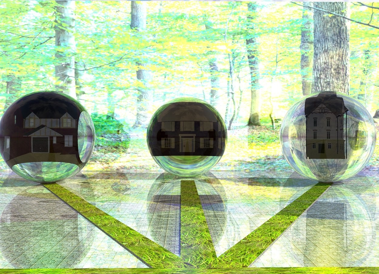 Input text: the 1st [grass] path is 100 feet long and 3 feet wide. the 1st 20 feet tall transparent sphere is in front of the 1st path. the 2nd 20 feet tall clear sphere is 10 feet to the left of and -5 feet behind the 1st sphere. the 2nd 100 feet long and 3 feet wide [grass] path is to the left of the 1st path. it is facing to the 2nd sphere. the 3rd 20 feet tall clear sphere is 10 feet to the right of and -5 feet behind the 1st sphere. the 3rd 100 feet long and 3 feet wide [grass] path is to the right of the 1st path. it is facing to the 3rd sphere. the ground is tile. the 1st 10 feet tall house is -13 feet above the 1st sphere. it is facing to the 1st path.  the 2nd 10 feet tall house is -13 feet above the 2nd sphere. it is facing to the 2nd path.  the 3rd 10 feet tall house is -13 feet above the 3rd sphere. it is facing to the 3rd path. the ground is shiny. the 50 feet tall and 120 feet long [forest] wall is 10 feet in front of the 1st sphere. it is facing to the 1st sphere. the wall is shiny. the big blue light is on the 1st sphere. the big yellow light is on the 2nd sphere. the big green light is on the 3rd sphere. the 4th 100 feet long and 3 feet wide [grass] path is 100 feet in front of the wall. it is facing to the right