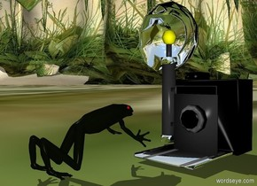 a camera.a frog is in front of the camera.it is facing the camera.the camera's bulb is clear yellow.the camera's reflector is silver.the camera's cover is silver.the frog's eye is red.the ground is field.