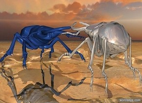 a 1st 800 inch tall and 1400 inch wide and 2000 inch deep delft blue  insect.a 2nd 700 inch tall and 900 inch wide and 1000 inch deep shiny gray insect is -20 inch behind the 1st insect.the 2nd insect is facing north.the 2nd insect leans 20 degrees to the front.the 1st insect  leans 5 degrees to the front.azimuth of the sun is 200 degrees.ground is shiny.ground is 30 feet tall.sky is 4000 feet tall.