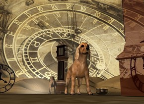 A shiny clock is in front of and right of a cocker spaniel. It is facing northwest. The sky is 3000 feet wide [time]. A silver wall is 4 feet behind the cocker spaniel. A silver bowl is 4 inch right of the cocker spaniel. A huge clock is 5 feet left of and 5 feet in front of the clock.