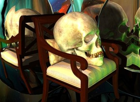 a 5 feet tall chair.a 1st 0.5 feet tall silver plate is behind the chair.it is face down.a 2nd 0.5 feet tall silver plate is right of the chair.it is face down.the 2nd plate is facing left.the 2nd plate is in front of the 1st plate.a giant skull is -40 inches above the chair.the skull is leaning 25 degrees to the north.the skull's nose is dirt.clear ground.a 1st green light is 6 inches in front of the skull.the sky is picture.the sky is upside down.a malachite green light is 6 inches left of the skull.
