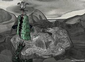 a 100 inch tall 30% dim  gray green shiny head.the head is 60 inch wide  [dirt].the head is facing west.the head leans 80 degrees to back.sky is 12500 inch wide [dirt].sky is 2500 feet tall.ground is clear .ground is 100 feet tall.a 30 inch tall gray green crocodile is -210 inch above the head.the crocodile leans 90 degrees to back.the crocodile is facing southeast.the crocodile is -125 inch right of the head.a 70 inch tall gray rose is -50 inch above the crocodile.