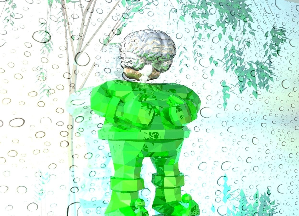 Input text: a shiny green elf.a large shiny brain is -2 inches above the elf.a shiny flat wall is behind the elf.silver ground.the wall is 1 inches in the ground.the wall is picture.a cyan light is right of the elf.a weeping willow is 10 feet in front of the elf.it is -7 feet right of the elf.a malachite green light is left of the elf.