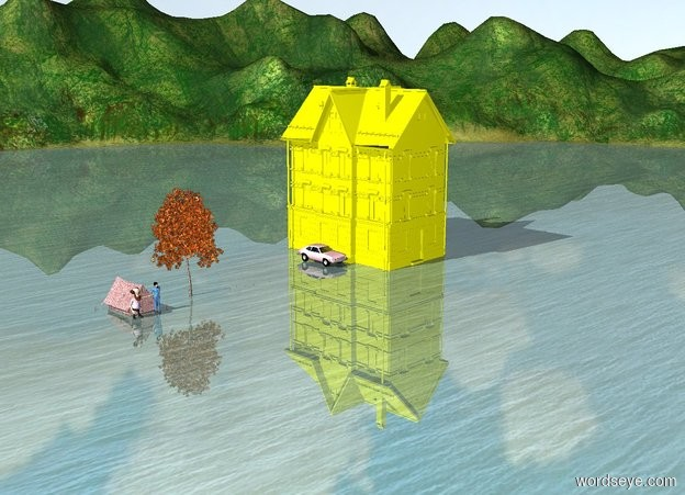 Input text: There is a house. Next to the house is a pink car.The House is yellow. 10 meters next to the house is an oak tree. Next to the oak is a red tent. In front of the tent are two people.