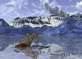 [mountain range] is in the background.a 3 inch tall sphere is -3 inch above the ground.a 35 inch tall swimmer is 2000 inch in front of the sphere.the swimmer is facing the sphere.the swimmer is -45 inch above the ground.the swimmer leans 20 degrees to back.ground is shiny delft blue.