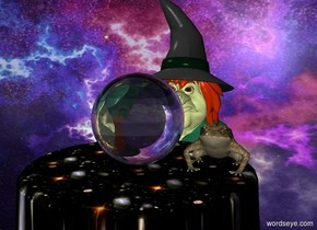 a large crystal ball is on a table.a witch is behind the table.a frog is right of the crystal ball.the table is texture.the texture is 1 feet tall.a flat wall is behind the witch.the wall is picture.