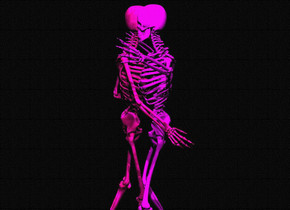 a 1st skeleton. a 2nd skeleton is -1.5 foot in front of the 1st skeleton. it faces back. ground is clear. 3 huge fuchsia lights are above the skeletons. camera light is black. it is night.