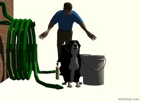 a dog is left of a 1.5 foot tall bucket. a green hose is left of the dog. it faces right. a brick wall is left of the hose. it faces right. sun's azimuth is 90 degrees. a large ivory bottle is left of the dog. it faces left. a silver wall is behind the dog. it is 1 inch in the ground. it is 3 feet tall. a 1st man leans 45 degrees to the front. he is -1 foot behind and -3 feet above the dog.a 2nd 11 foot tall man is 9 feet in front of and -2.7 foot right of the dog. he faces back. camera light is black. sun is cream. ground is invisible. sky is white.