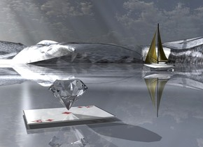 A large diamond is on a 50% shiny diamond. The ground is shiny [gemstones]. The azimuth of the sun is 250 degrees. Camera light is grey. The altitude of the sun is 20 degrees. A light is 3 feet left of the diamond. A very tiny silver boat is 4 feet behind and 6 feet left of the diamond. It is -2.5 inch above the ground. The sail of the boat is gold.