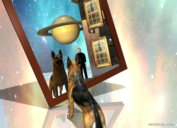 Input text: a huge mirror.the mirror is leaning 20 degrees to the southwest.a dog is behind the mirror.a black man is 8 feet left of the dog.he is 20 feet behind the dog.a clear structure is left of the mirror.it is facing the mirror.the structure is behind the mirror.the ground is shiny.the sky is picture.a gold light is 2 feet right of the dog.it is noon.the sky is upside down.a planet is behind the man.it is 8 feet above the ground.